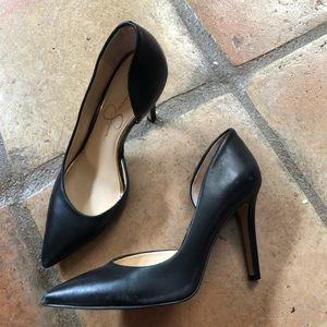 Jessica Simpson Black Leather Heels size 6.5